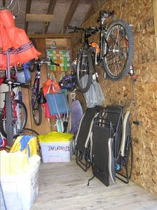Tenant Storage Shed has 4x bikes, lounge chairs, tubes, etc. for your sole use.