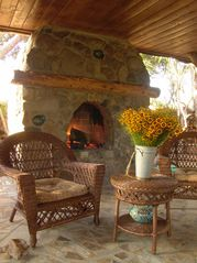 Ojai estate photo - Buffalo Cottage Outdoor Fireplace