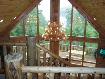 Lake Nantahala lodge rental - View of Interior from Loft