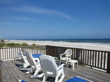 Gulf Shores house rental - View of Beach From Lower Deck - Large Deck overlooking the Gulf...Can see children on beach from deck