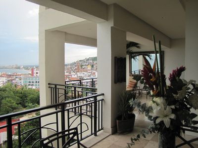 Spacious patio with view of the Banderas Bay