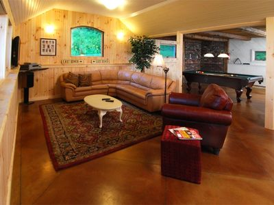 2nd Living Rm, Radiant Heat,Pool table, tv& 12' Pro Shuffle board table