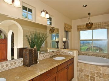 Master bath, soaking tub with a view...