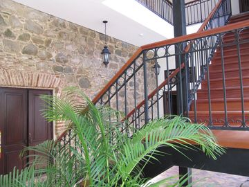 Beautiful Mahagony stairs to keep you fit!