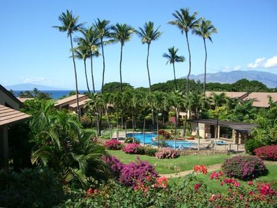 Wailea condo rental - View from kitchen and front lanai. Island of Lanai and West Maui in distance.