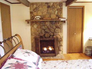 Robbinsville farmhouse photo - Master Bedroom, Queen Bed, Gas Fireplace.