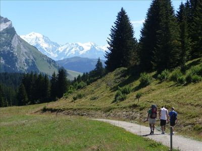 Walking and a view of Mont Blanc from La Clusaz