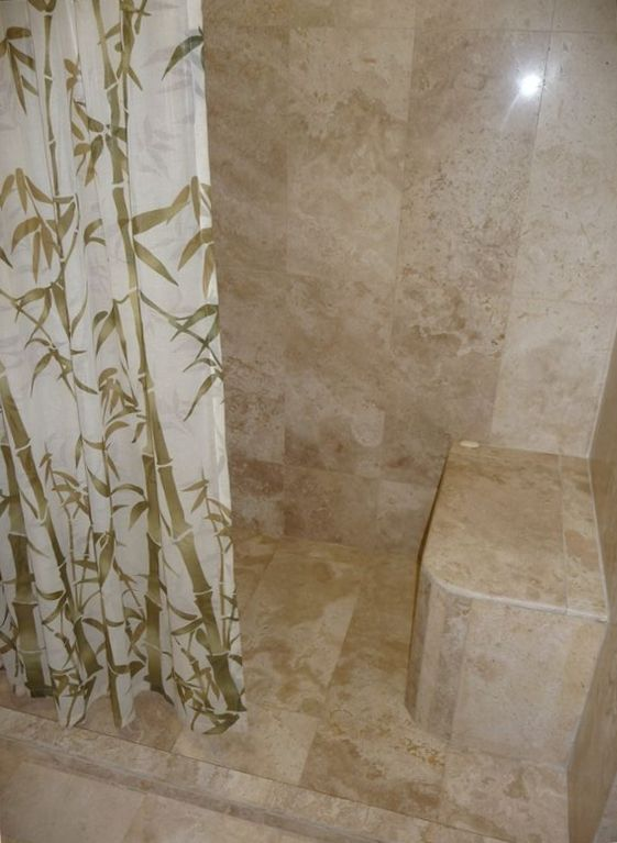 Our marble shower with bench