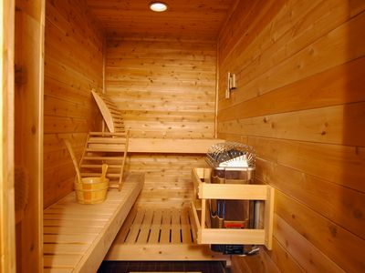 Bridgton lodge rental - Large Custom Sauna with Seating for up to 5 People