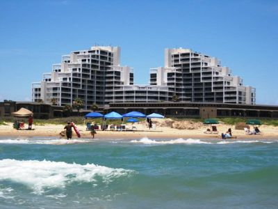 South Padre Island condo rental - Sunchase IV Complex as Seen from the Beach