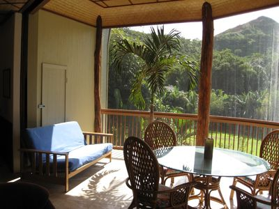 Lanai overlooking tropical vista