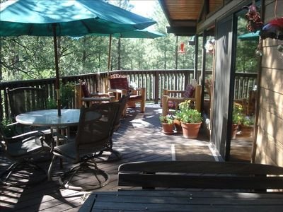 VIEW ON PATIO DECK OVERLOOKING 200 FT CREEK FRONTAGE