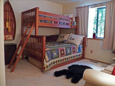 "Bunk room- 2 twin and 1 full bed + couch and camp decor for a perfect ""Kid Cave"""