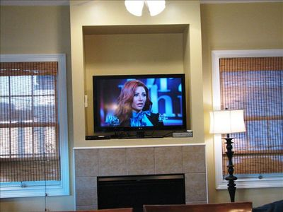 Beautiful new HD flat screen TV highlights the large living space.