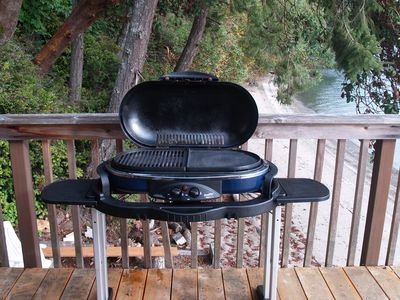The gas grill on side deck uses the little gas canisters