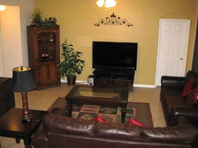 Enjoy the family room with large screen TV, DVD and Netflix movies
