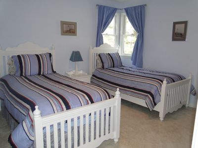 Second Floor Bedroom with Twin Beds in nautical theme