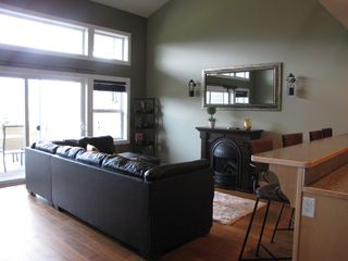 Shuswap Lake townhome photo - real leather couch folds out into a comfy queen size bed as well