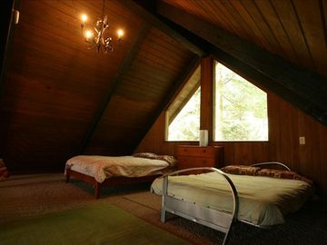 Anotherview of the sleeping loft. Comfortable beds and all linens provided.