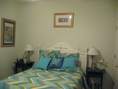 Bright splashes of color in BR#-3 - fun & beachy decor Queen bed - TV/VCR Combo