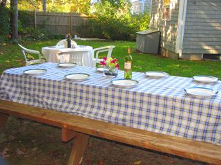 Mashpee house photo - Enjoy a cookout in the backyard-this table seats 8.