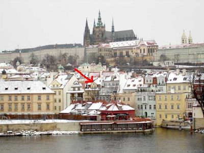 Arrow Points to House as seen from Charles Bridge