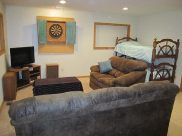 Upstairs Loft Area with Brand New TV and Dart Board