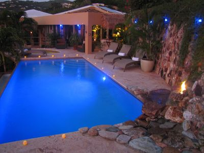Chocolate Hole villa rental - Ahhhh....blue twilight ambience, Cabana & 8 person hottub!