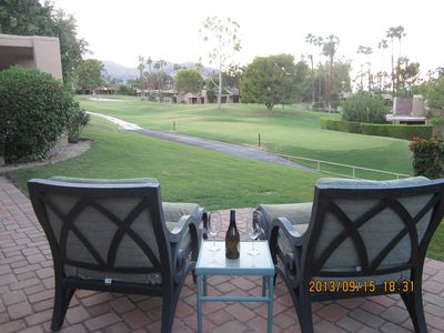 End the day on the large rear patio with views of the golf course and mountains