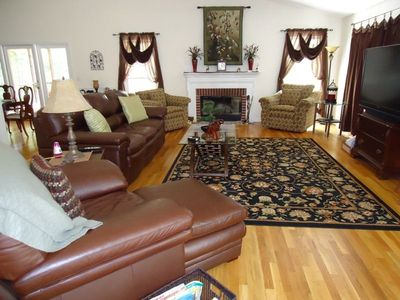 Main Level Living Room has 60 inch HDTV/DVD, Real fireplace and lots of comfort