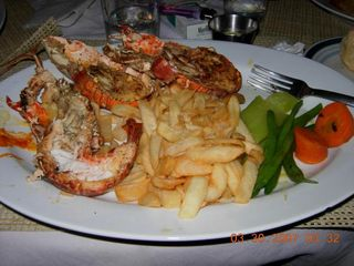 Negril cottage photo - lobster & fries for dinner