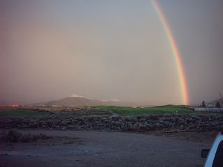 Taos house photo - Looking out our front window - Rainbow over the golf cousre