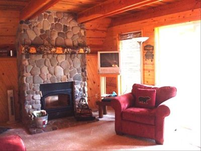 Stone Fireplace Makes for Cozy Winter Evenings.