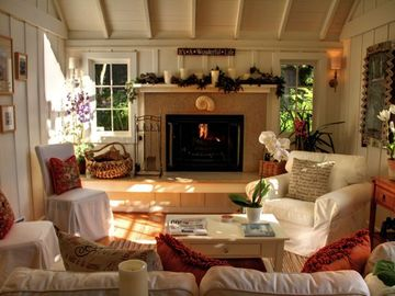 "Carmel house rental - Welcome to ""Sanctuary-by-the-Sea""! Living room with woodburning fireplace and gas kindler. A perfect Carmel cottage."