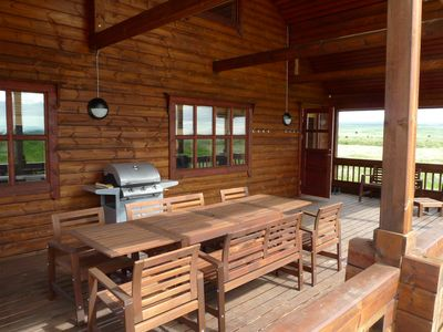 South Iceland cottage rental - Beautiful deck area with barbecue gas grill