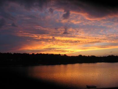 Silver Lake cottage rental - Sunset from Deck
