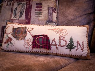 Pigeon Forge cabin photo - our cabin pillow on ultra suede queen size sleeper sofa