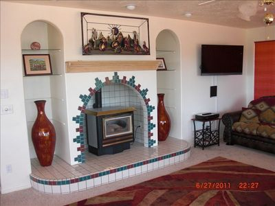Coyote's Howl over the Decorative Fireplace