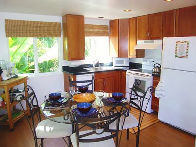 Full Kitchen with all the Amenities surrounded by lush tropical plants!
