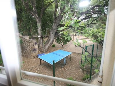 Table tennis, tree-house, swings, badminton, boules beyond bedrooms