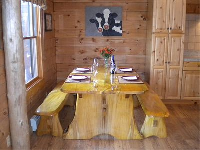 Dining Table, White Mountain Log Home