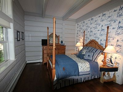 #2 Bedroom lighthouse theme queen bed on main floor