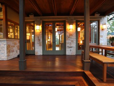 Austin house rental - Back Deck with Ipe wood floor (hardest wood in the world)