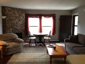 A comfortable Livingroom to relax in with all new wood floors - Unit #104