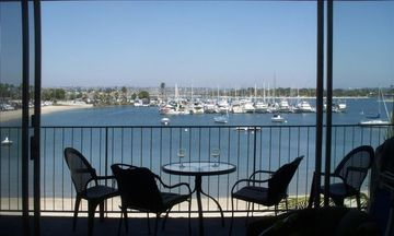 Mission Beach condo rental - Panoramic view of the Mission Bay Yacht Club, Sea World fireworks in summer