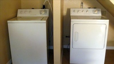 Full sized washer and dryer provided