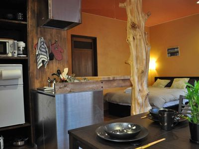 Convenient kitchenette for making meals between outings (Bamboo Suite).
