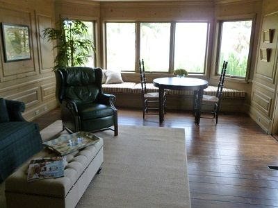 Very large family room with 2 seating areas and gorgeous views.