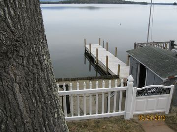 Looking down to the patio, dock and changing hut.