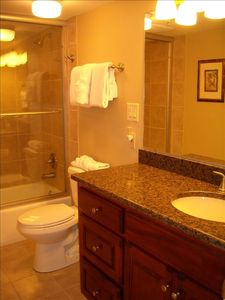 Breakers East Condominium condo rental - 2nd (Hallway) Bathroom - Standard Shower/Bathtub Combo